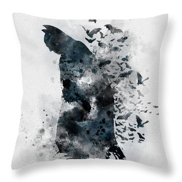 The Caped Crusader Throw Pillow by Rebecca Jenkins