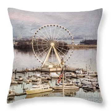 The Capital Wheel At National Harbor Throw Pillow
