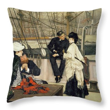 The Captain And The Mate Throw Pillow by Tissot