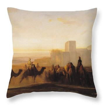 The Caravan Throw Pillow by Alexandre Gabriel Decamps