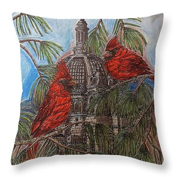 The Cardinals Visit St.pauls Cathedral Throw Pillow