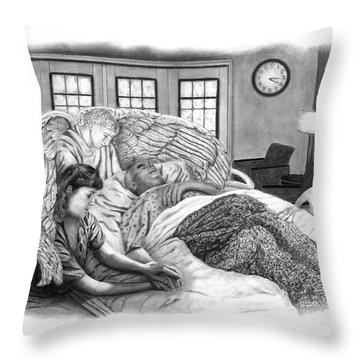 Throw Pillow featuring the drawing The Caregiver by Peter Piatt