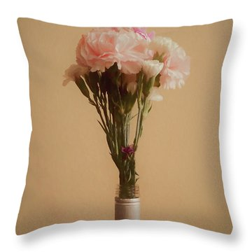 The Carnations Throw Pillow by Ernie Echols
