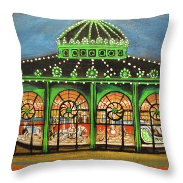 The Carousel Of Asbury Park Throw Pillow