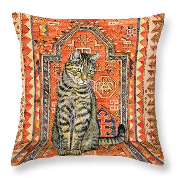 The Carpet Cat Throw Pillow