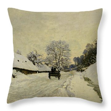 The Cart Throw Pillow by Claude Monet