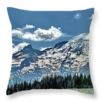 The Cascade Mountains And Mt. Rainier Throw Pillow