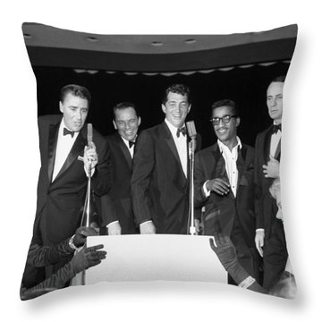 The Cast Of Ocean's 11 And Members Of The Rat Pack. Throw Pillow by The Titanic Project
