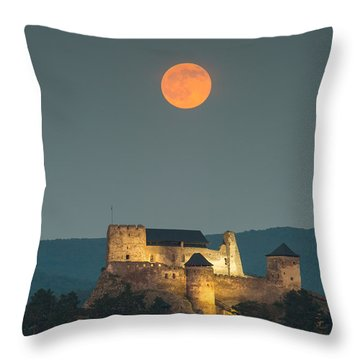 The Castle Of Boldogko At Full Moon Throw Pillow by Gabor Pozsgai