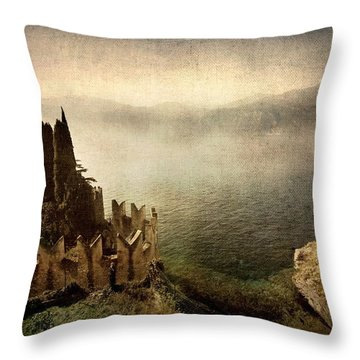 The Castle On The Lake. Malcesine Throw Pillow
