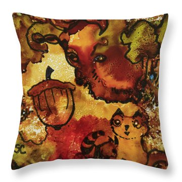 The Cat And The Acorn Throw Pillow