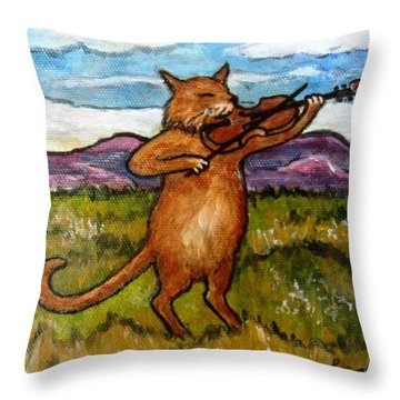 The Cat And The Fiddle Throw Pillow by Frances Gillotti
