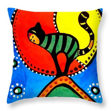 The Cat And The Moon - Cat Art By Dora Hathazi Mendes Throw Pillow