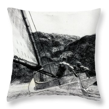The Cat Boat Throw Pillow
