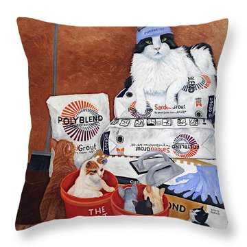 Throw Pillow featuring the painting The Cat Crew by Karen Zuk Rosenblatt