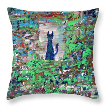 Throw Pillow featuring the painting The Cat In The Garden by Fabrizio Cassetta