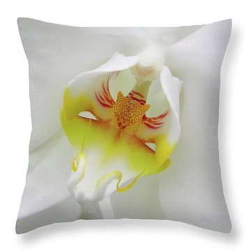 The Cat Side Of An Orchid Throw Pillow by Manuela Constantin