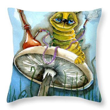 The Caterpillar Throw Pillow by Lucia Stewart