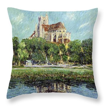 The Cathedral At Auxerre Throw Pillow by Gustave Loiseau