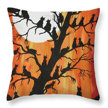 The Cats On Night Watch Throw Pillow by Jeffrey Koss