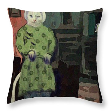 Throw Pillow featuring the digital art The Cat's Pajamas by Alexis Rotella