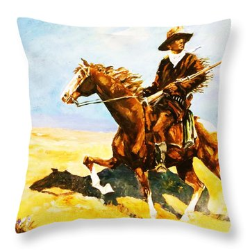 The Cavalry Scout Throw Pillow by Al Brown
