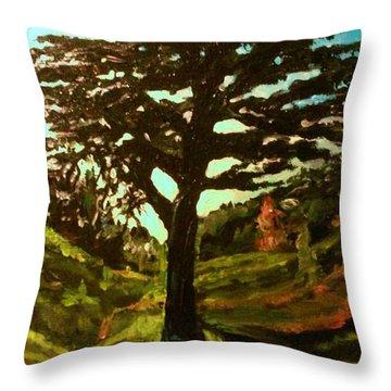The Cedar Tree Against The Blue Throw Pillow