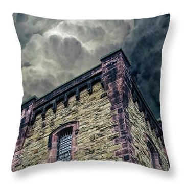 Throw Pillow featuring the photograph The Cell Block Restaurant by Greg Reed