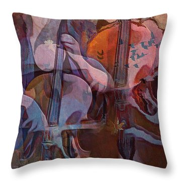 Throw Pillow featuring the digital art The Cellist by Alexis Rotella