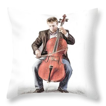 Throw Pillow featuring the photograph The Cello Player In Sketch by David and Carol Kelly