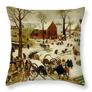 The Census At Bethlehem Throw Pillow by Pieter the Younger Brueghel
