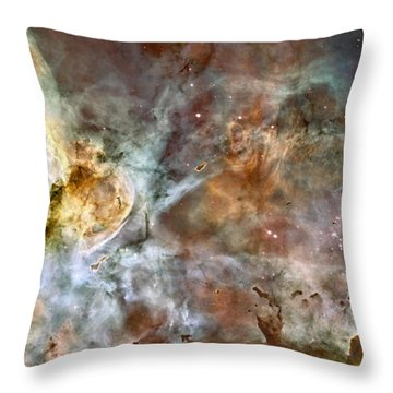 Throw Pillow featuring the photograph The Central Region Of The Carina Nebula by Stocktrek Images
