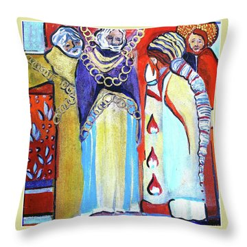 Throw Pillow featuring the painting The Chains That Bind Us To Christ by Mindy Newman