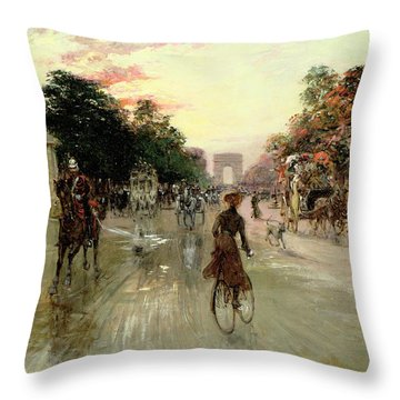 The Champs Elysees - Paris Throw Pillow by Georges Stein