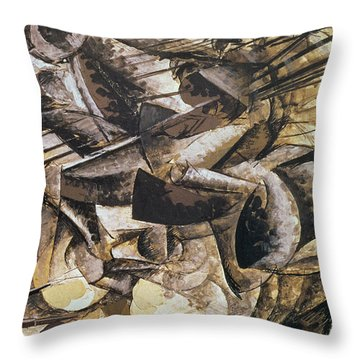 The Charge Of The Lancers Throw Pillow by Umberto Boccioni