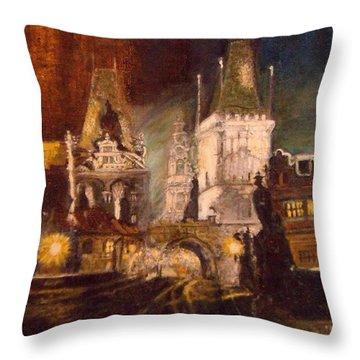 The Charles Bridge In Prague At Night Throw Pillow
