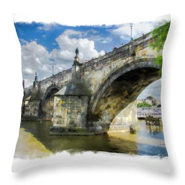 The Charles Bridge - Prague Throw Pillow by Tom Cameron