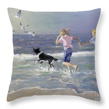 Dog On Beach Throw Pillows   Fine Art America