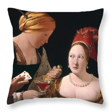 The Cheat With The Ace Of Diamonds Throw Pillow by Georges de la Tour