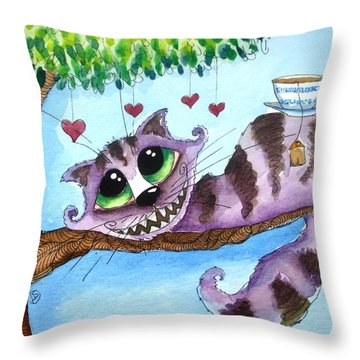 The Cheshire Cat - Tea Anyone Throw Pillow by Lucia Stewart