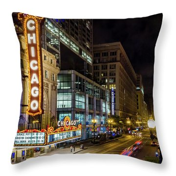 The Chicago Theatre Throw Pillow