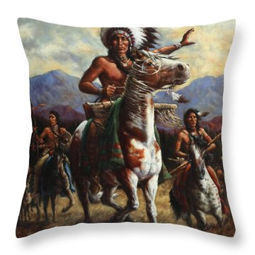 Throw Pillow featuring the painting The Chief by Harvie Brown