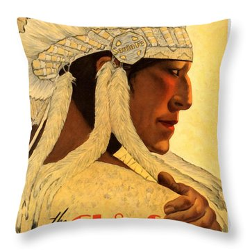 The Chief Train - Vintage Poster Restored Throw Pillow