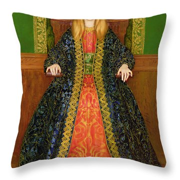 The Child Enthroned Throw Pillow by Thomas Cooper Gotch