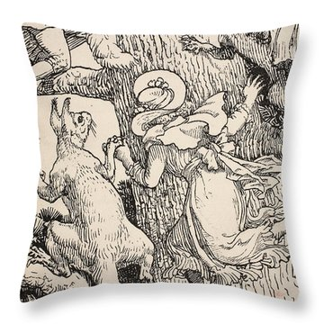 The Children Climbed The Christmas Tree With Animals And All Throw Pillow