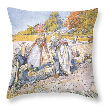 The Children Filled The Buckets And Baskets With Potatoes Throw Pillow by Carl Larsson
