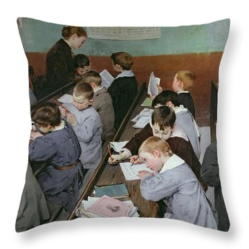The Children's Class Throw Pillow by Henri Jules Jean Geoffroy
