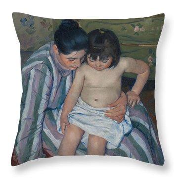 The Child's Bath Throw Pillow by Mary Cassatt