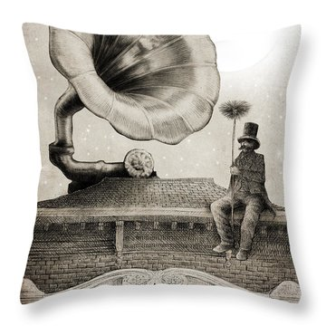 The Chimney Sweep Monochrome Throw Pillow