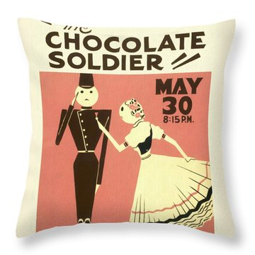 The Chocolate Soldier - Vintage Poster Restored Throw Pillow